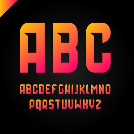 Vector square alphabet simple sport font and letter set orange gradient style
