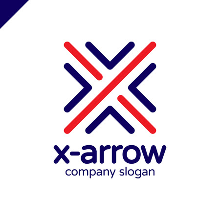 Letter X logo design concept with four arrow in round line style. Illustration