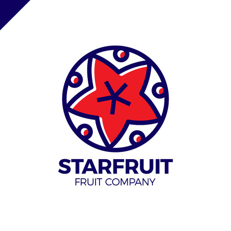 Carambola, star fruit slice on a circle logo