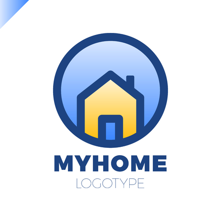 Sjabloon logo voor vastgoedkantoor of cottage town elite class. Vastgoedlogotype in cirkel