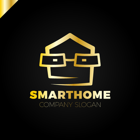 property management: Smart Home Logo Design Template. Vector Illustration head with glass.