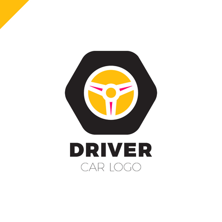 Steering wheel in hexagon icon logotype. Driver abstract symbol logo