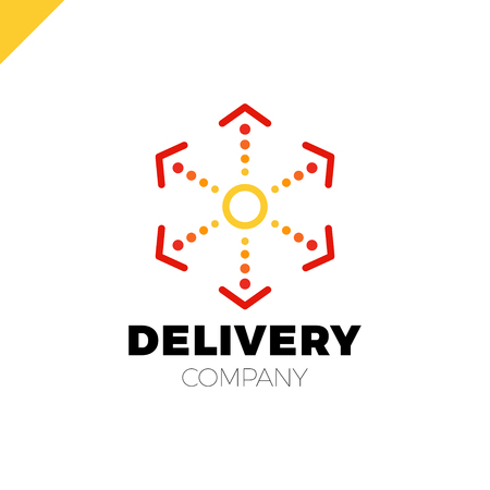 Delivery Six Arrow Logo. Circle in middle and dot Illustration