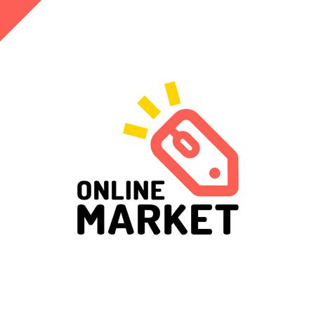 E store logo concept mouse click and shop tag