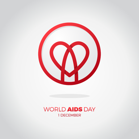World AIDS day. awareness, red ribbon in heart. HIV STI. logo vector. Letter A in heart symbol in circle Illustration