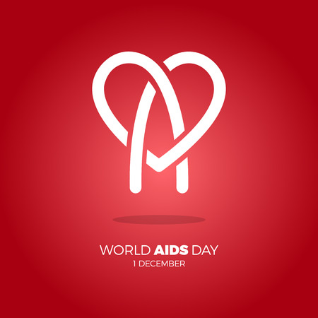 World AIDS day. awareness, red ribbon in heart. HIV STI. logo vector. Letter A in heart symbol white color red background Illustration