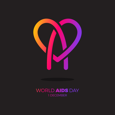 World AIDS day. awareness, red ribbon in heart. HIV STI. logo vector. Letter A in heart symbol rainbow color Illustration