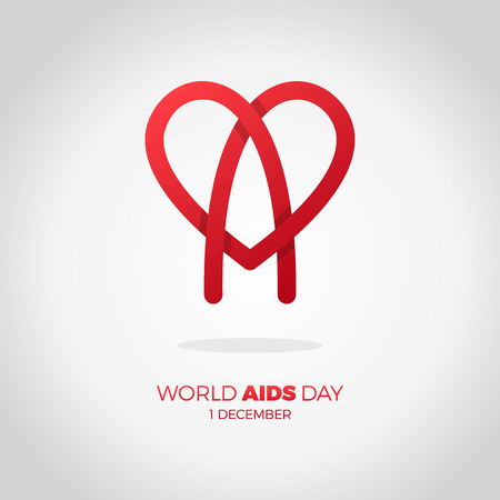 aids awareness ribbon: World AIDS day. awareness, red ribbon in heart. HIV STI. logo vector. Letter A in heart symbol red color Illustration