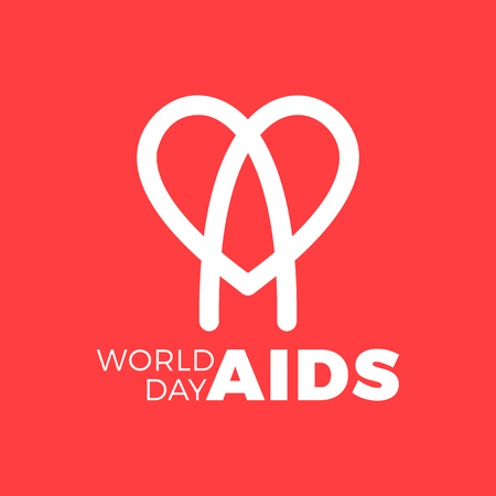 World AIDS day. awareness, red ribbon in heart. HIV STI. logo vector. Letter A in heart symbol Illustration