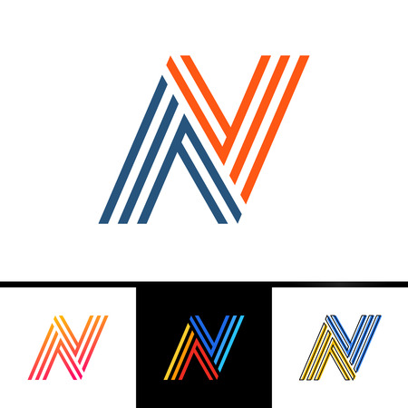 N letter formed by parallel lines. Vector design template elements for your sport application or corporate identity.