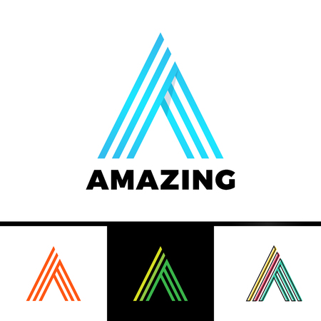 Letter A enclosed in a triangle. Abstract vector logo in a linear style.
