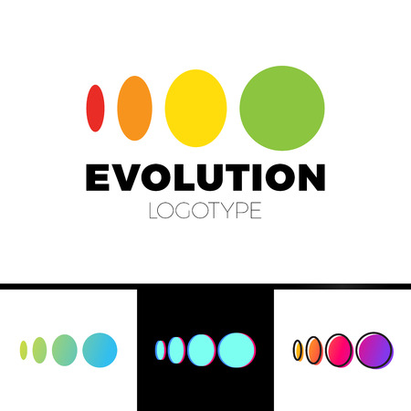 Four symbol from elipse to circle logo evolution