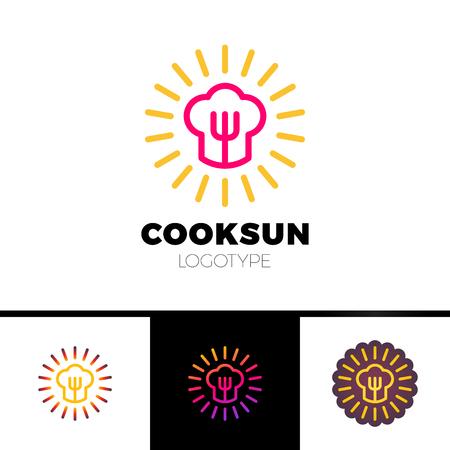 Kitchen, cafe, restaurant - vector logo template concept illustration. Chef hat, fork and sun. Sunny food sign. Design elements. Stock Vector - 80109837