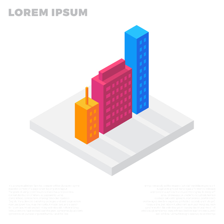 hotel building: Isometric city or life buildings in a residential block