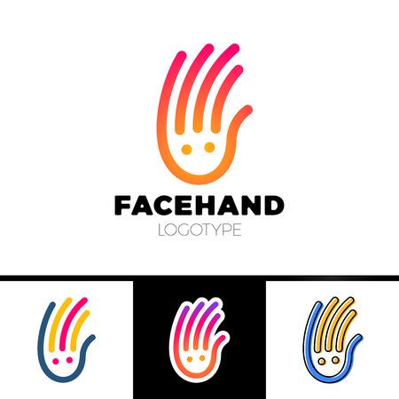 Smile line hand logotype or Child Care Center Logo Design Illustration