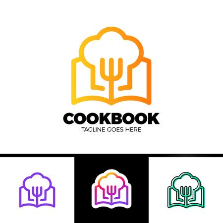 Recipe Book Logo Template Design in outline style Vector Design Illustration