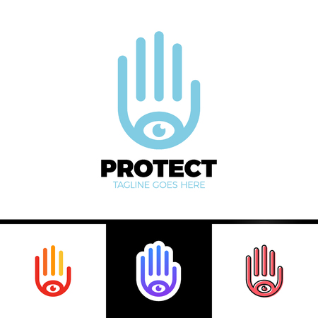 providence: Logo of a stylized hand with eye symbol. This logo is suitable for many purpose as multimedia firm, publicity agencies, protection or security company. Illustration