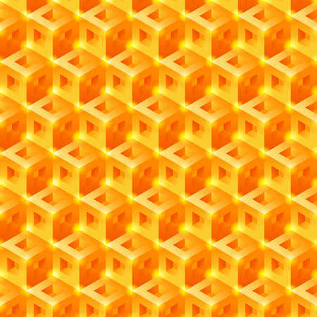 Sweet Honeycomb 3D tiles pattern. Seamless vector background