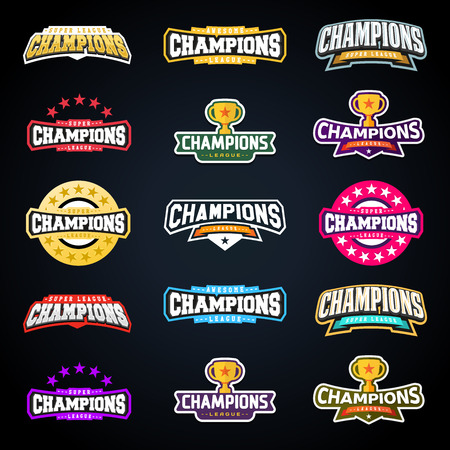 Sport champion or champions league emblem typography set. Super logo for your t-shirt. Mega logotype collection.