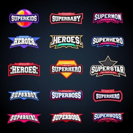 Sport embleem typografie set. Super logo voor je t-shirt. Mega logotype collectie Stockfoto - 87346374