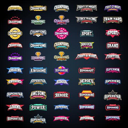 Zestaw typografii godło sportowe. Super logo na Twojej koszulce. Mega kolekcja logotypów