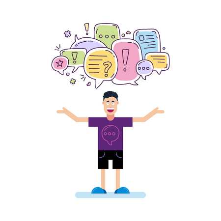 Vector illustration of man and colorful color dialog speech bubbles with icons and text let s talking on white background. Safety communication thin line design of mobile technology concept.