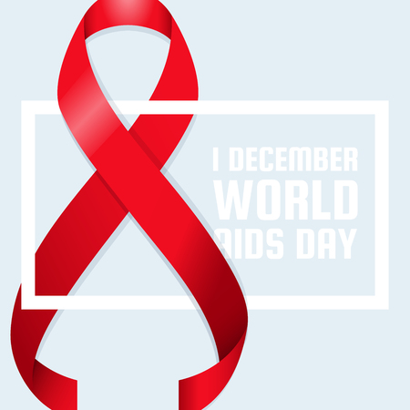 Realistic Red Ribbon World Aids Day Symbol 1 December Vector