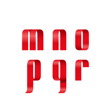 An alphabet illustration of m, n, o, p, q, r lowercase letters font from a red ribbon with strip and smooth curves and shadows