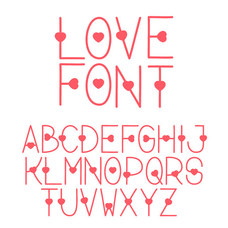Decorative letters love the alphabet with a heart letters uppercase