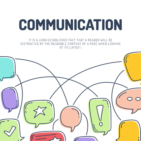 Vector illustration of hand draw dialog speech bubbles with icons communication line. Illustration