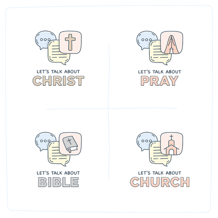 Lets talk about Christ, bible, church, pray doodle illustration dialog speech bubbles with icon.
