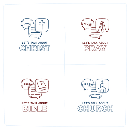 Let's talk about Christ, bible, church, pray doodle illustration dialog speech bubbles with icon.