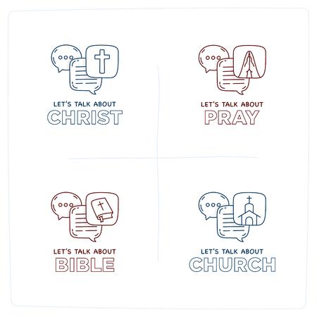 Porozmawiajmy o Chrystusie, Biblii, Kościele, módlcie się doodle ilustracja dymki dialogowe z ikoną.