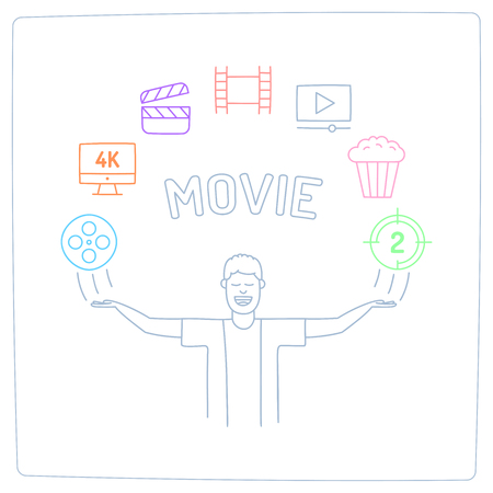 character with his hands up and video production cinema movie doodle icon. Stock Illustratie