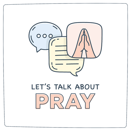 Lets talk about pray doodle illustration dialog speech bubbles with icon.