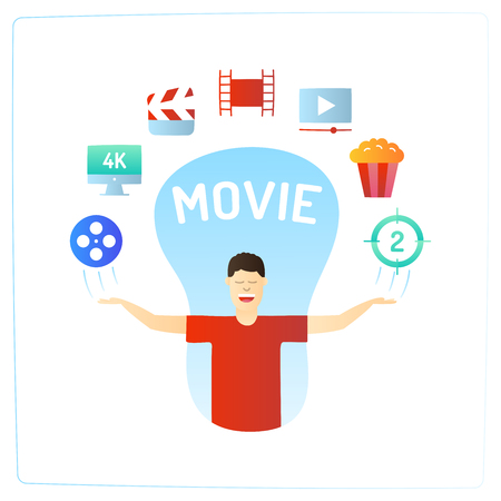 character with his hands up and video production cinema movie doodle icon. Stockfoto - 108322758