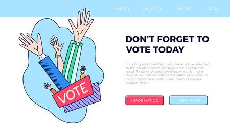 Set of hand draw hands. Voting concept illustration