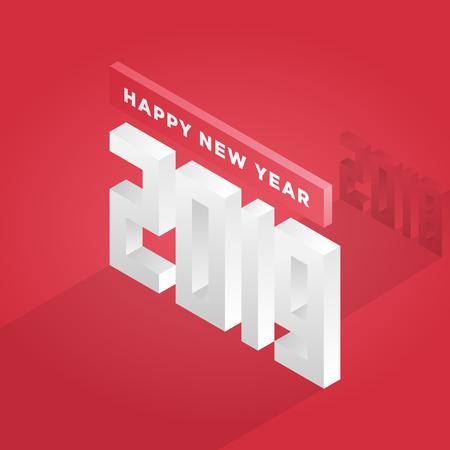 Happy new year 2019 isometric text design - vector illustration.