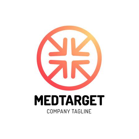 Medical Cross Target Icon Logo Design with four arrow. Иллюстрация