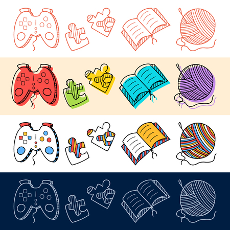 Hand draw gamepad, book, knitting, puzzle icon set in doodle style for your design.