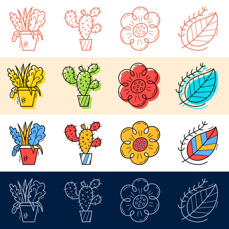 Hand draw flower, cactus, leaf icon set in doodle style for your design.