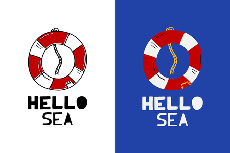 Cute vector lifebuoy with phrase hello sea - illustration cut out from actual paper. Scrapbook element. Art poster for nursery or kids room poster Illustration