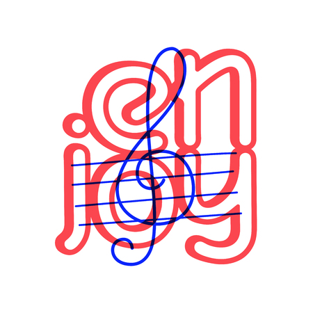 Hand draw treble clef icon in doodle style for your design with lettering.