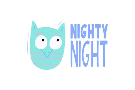 Cute vector owl with phrase nighty night - illustration cut out from actual paper. Scrapbook element. Art poster for nursery or kids room poster Illustration