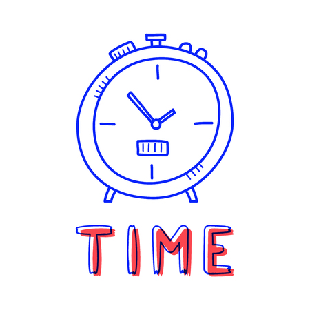 Hand draw clock icon in doodle style for your design with lettering.