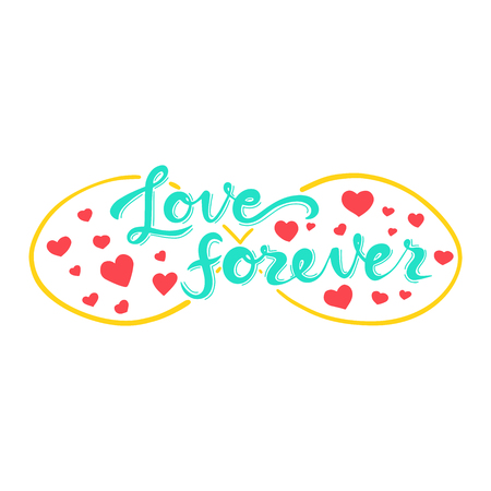 Love forever lettering quote card. Hand drawn romantic phrase. Modern brush calligraphy. Иллюстрация