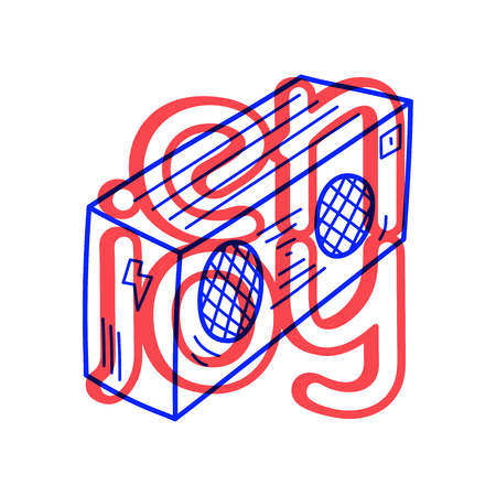 Hand draw record player icon in doodle style for your design with lettering.
