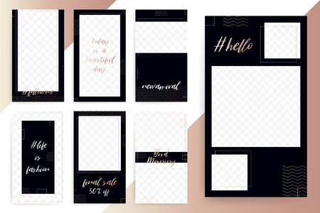 Set of 7 Bright editable template for Stories and Streams. Trendy rose gold fashion color. Vector illustration