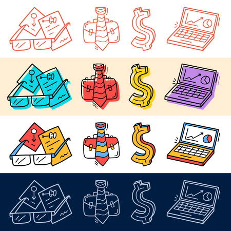 Hand draw business, dollar, job, computer icon set in doodle style for your design.