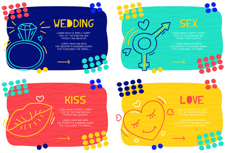Set Abstract landing page pattern with different element, text block and doodle ring, sex, kiss, heart icon. Vector fun background 向量圖像